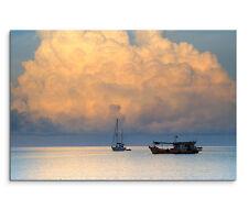 120x80cm Leinwandbild auf Keilrahmen Tropensturm Boote Schiff Meer Thailand