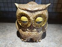 Vintage Ceramic Owl Lidded Canister Cookie Jar Brown Turnabout Two Sided Medium