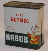 Antique Old Vintage 1950s NABOB TIN LITHO CAN GRAPHIC SPICE TIN VANCOUVER CANADA