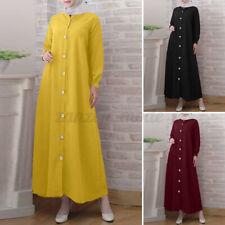 Горячая мода мусульманских женский длинный рукав линию сплошной кафтан мешковатые Макси официальное платье