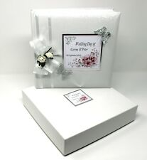 Traditional White Boxed Wedding Photo Album Custom made Pink Design