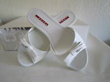 PRADA White Patent Leather Flat Bow Slide Sandals Mules Shoes  Sz 36 Us 6 $390