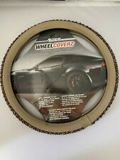 "Steering Wheel Cover Beige/Brown Bristol Braid 14.5"" & 15.5"""