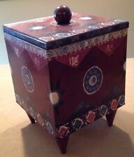"""Hand-Painted Wooden Storage Bin with Cover,Multipurpose, 10x15""""H, Plum Blue"""