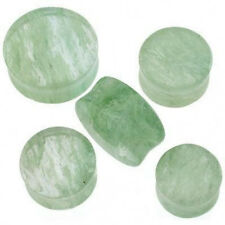 """1 Pair GIANT 9/16"""" 14mm Green Murano Glass Saddle Plugs Ear Double Flare Organic"""