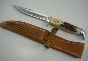 1977 CASE  5 FINN SSP BLUE SCROLL VERY THICK STAG KNIFE NEVER USED