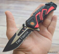MTECH SPRING ASSISTED FIRE FIGHTER TACTICAL RESCUE KNIFE WITH POCKET CLIP