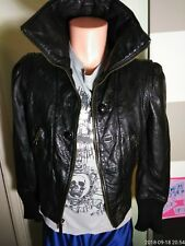 JUICY COUTURE Womens Black Leather Long-Sleeve Moto Biker Zip Jacket @C