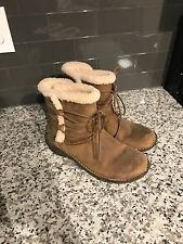Womens UGG Short Brown Suede Lace Up Boots Size 10