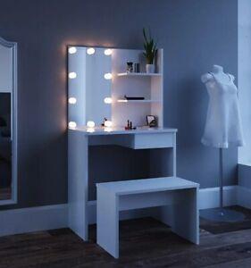 Retro Dressing Table Makeup Desk  Led Light Drawers Oval Set Bedroom White New