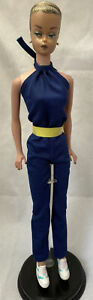 EUC Vintage Barbie Clone Navy Tricot Jumpsuit Yellow Belt Untagged Free Shipping