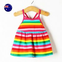 Baby Girl kids Children Rainbow Multi-colored Striped cotton Summer Strap Dress
