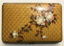 BEAUTIFUL ROSES - ANTIQUE MASTER PIECE HAND MADE ENAMEL SILVER CIGARETTE CASE