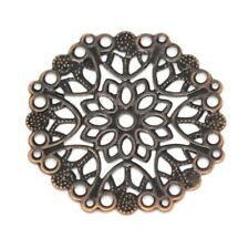 "10 ROUND FLOWER Antiqued Copper-tone FILIGREE WRAPS 1-3/8"" (35mm) (14748)"