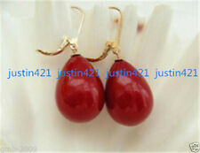 New 12x16mm Coral Red South Sea Shell Pearl Drop 14K GP Leverback Earrings