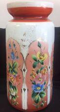 "Bristol Glass Hand Painted 13"" Vase Pink Blue Flowers"