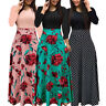 Womens Bohemian Long Sleeve Maxi Dress Flowy Polka Dot Floral Patchwork Bodycon