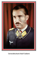 aviation art Luftwaffe pilot photo postcard Adolf Galland colour WW2 JG 26 Me109