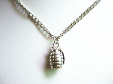 """New Antique Silver Hand Grenade Pendant Chain Charm Necklace Punk Necklace 22"""""""