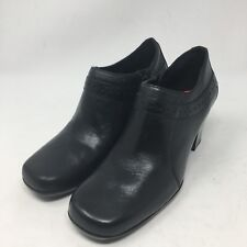 Womens Clarks Black Leather Ankle Boots side Zip Block Heel Size 6 M