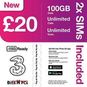 2 X Three (3) SIM Card  - PAY AS YOU GO - Includes Standard, Micro & Nano