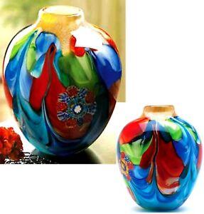 FLORAL FANTASIA ART GLASS JUG SHAPED VASE ** Individually Hand Crafted  ** NIB