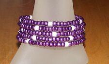 Purple + White Beaded Wrap Memory Wire Coil Bracelet - USA Made - Glass Beads