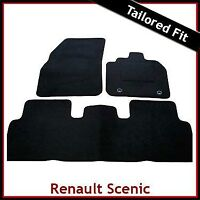 Renault Scenic Mk2 2003 - 2009 Fully Tailored Fitted Carpet Car Mats BLACK