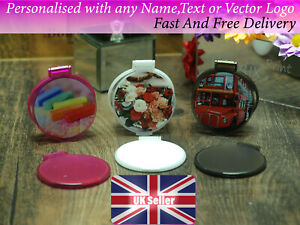Personalised compact mirror  with any photo logo name text brand