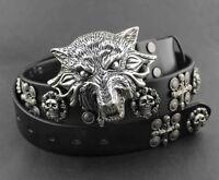 Cool! Wolf Head Metal Buckle Punk Biker Rocker Skull Mens Rivet Leather Belt