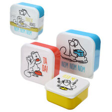 3 x Simon's cat plastic lunch tubs boxes set of three lunch picnic sandwich box