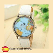 Reloj World Traveler mapa mundial avión retro vintage unisex color BLANCO