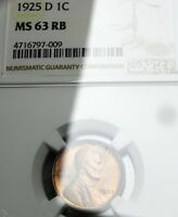1925-D Lincoln Cent Wheat Penny  ---- NGC MS-63 Slabbed  ---- #317
