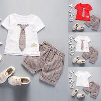 Summer Toddler Baby Kids Boy Outfit Tie Decor T-shirt+Pant Gentleman Clothes Set