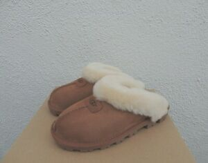 UGG COQUETTE CHESTNUT SUEDE SHEEPSKIN SLIPPERS, US 8/ EUR 39 ~ FITS LARGE ~NEW