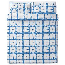 Ikea TANKVARD Queen Duvet cover and pillowcase(s), check pattern blue 100% Linen