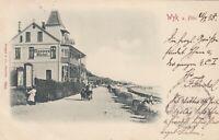 #279 - alte AK Wyk auf Föhr - Strandpromenade mit Deppes Hotel - 1898 gelaufen