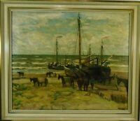 Norddeutsche Künstler Wilhelm Bartsch Niederländische Fischerboote am Strand Öl