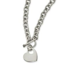 Stainless Steel Polished Puff Heart 20in Necklace