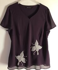 Womens Jacques Vert Top Size 16 Ladies Short Sleeve Plum Colour Top
