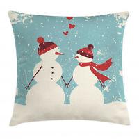 Christmas Throw Pillow Case Snowman Woman Love Square Cushion Cover 16 Inches