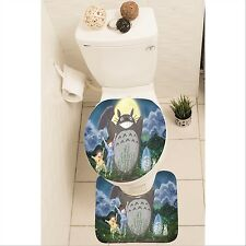 My Neighbor Totoro Set of 3 Bathroom Rug Set Mat Toilet Lid Cover y70 w0037