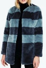 NWT!! BODEN Pippa Coat Blue Stripe Faux-Fur Size UK 12 US 8