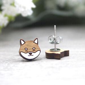 Shiba Inu Earrings - Hand Painted Wooden Dog Studs