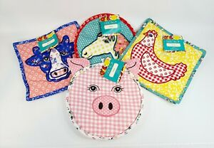 Pioneer Woman Quilted Animal Cloth Trivets  Set of 4 Cow Chicken Horse & Pig