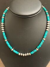 Native American Sterling Silver Navajo Pearls Turquoise Necklace 16 Inch