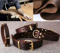 New Top Quality Handmade Pet Dog Collar Genuine Real Cow Leather Dog Collar M L