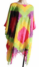 Ladies RAINBOW tie-dye print Kaftan Poncho Tunic top beach large plus size new
