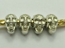 100 Silver Tone Metallic Acrylic Skull Big Hole Pony Beads 12X7mm