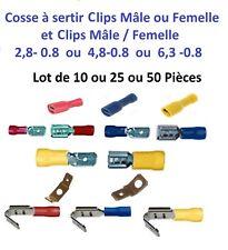 Cosse électrique isolée à sertir clips mâle-femelle de 0.5 à 6 mm² Lot 10-25-50